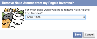 select facebook page to unlike