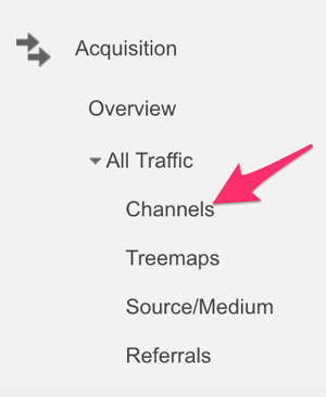google analytics acquisition menu to select channel