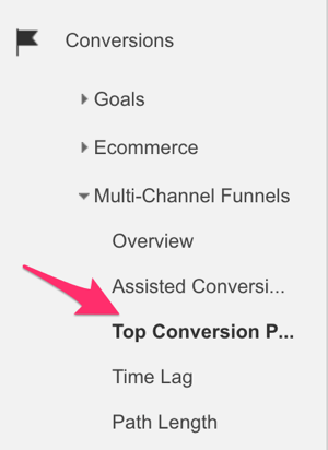 google analytics conversions menu to select top conversion paths