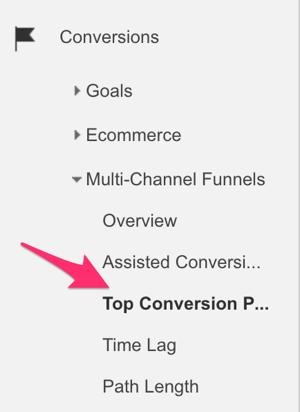 google analytics conversions menu to select top conversion paths