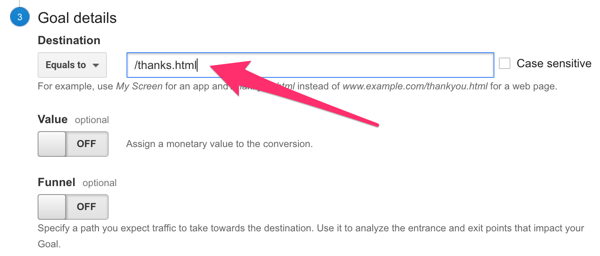 enter destination url for goal set up in google analytics