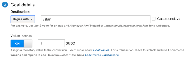 add revenue amount to goal in google analytics