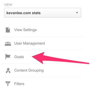 google analytics settings for goals