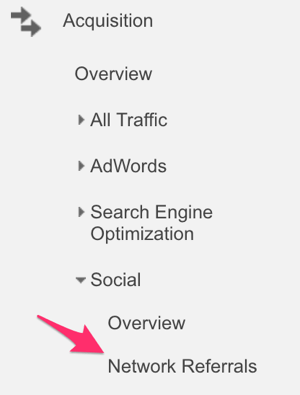 google analytics acquisition menu to select network referrals