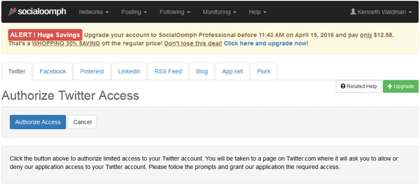socialoomph authorize access