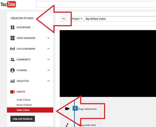 open video editor tool in youtube creator studio
