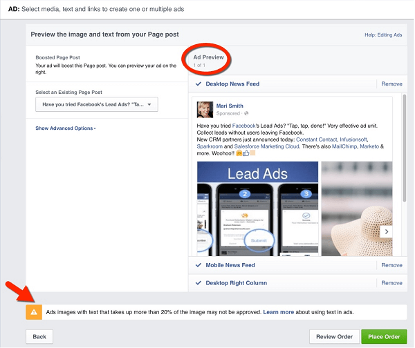 facebook boost carousel post