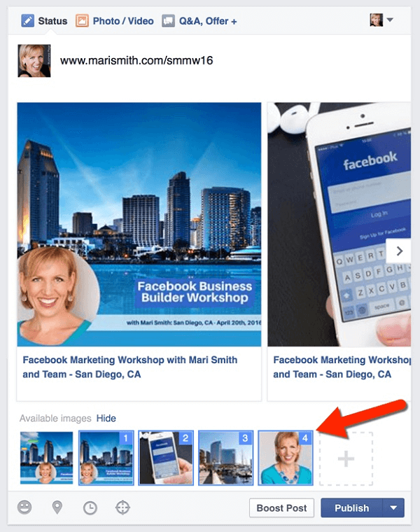 facebook link post carousel