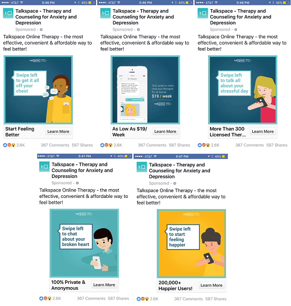 talkspace facebook carousel ad