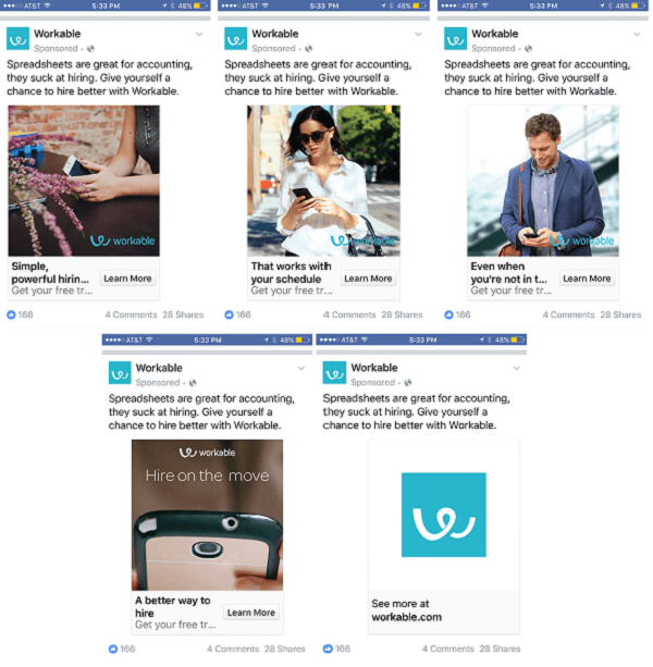 workable facebook carousel ad