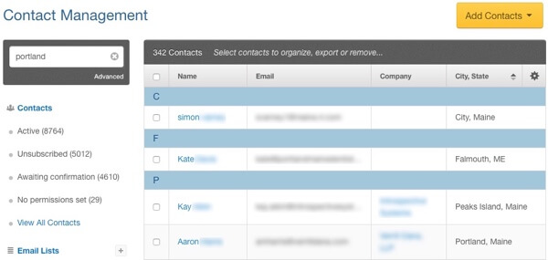 contact management sample segmented email list