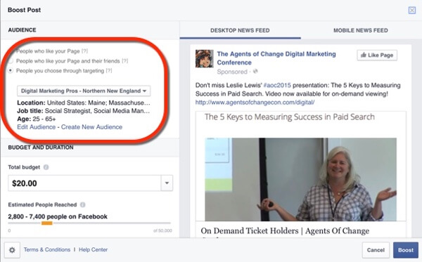 facebook post boost target segmented email lists