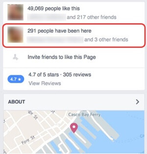 facebook page check in example