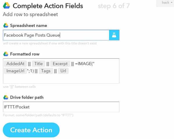 ifttt complete action fields
