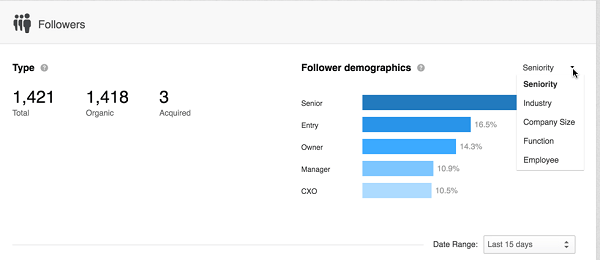 linkedin follower demographic sort
