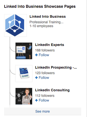 linkedin showcase pages for linked into business