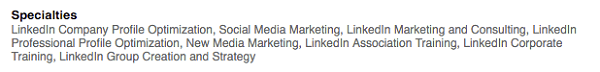 keywords added to linkedin specialties section