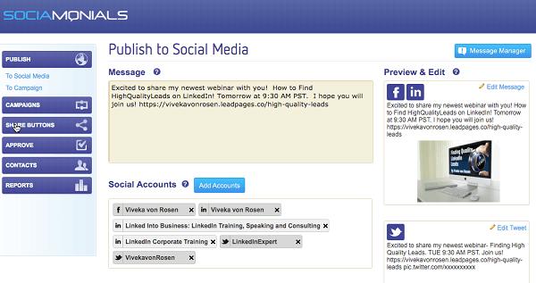sociamonial sharing tool content publish