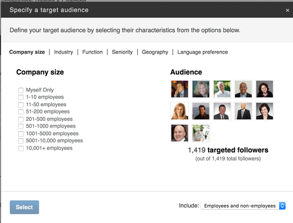 specify target audience for linkedin post