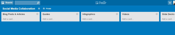 trello board for social content types