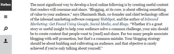 industry quotes in article example