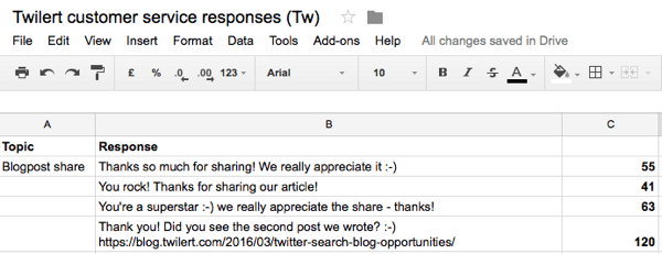 customer response template for twitter