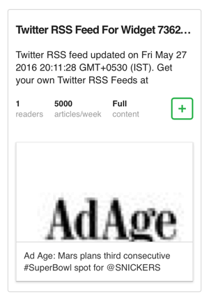 add twitter widget rss feed to feedly