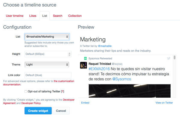 create twitter list widget