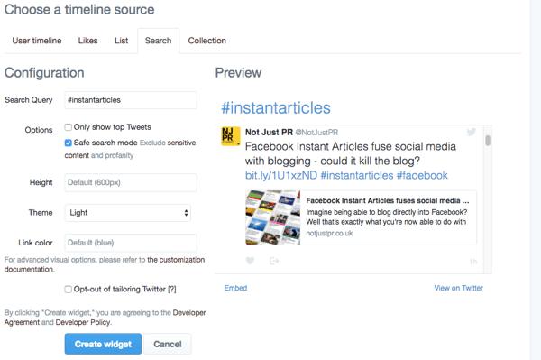 create twitter search widget