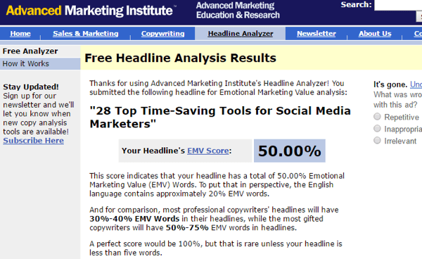 advanced marketing institute headline analyzer