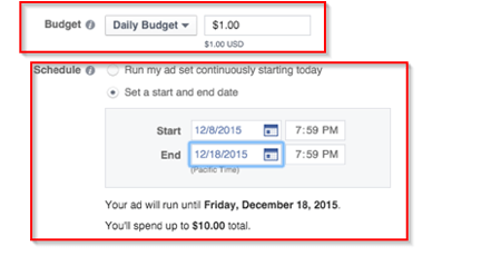 facebook ad budget and duration