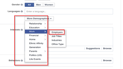 facebook ad workplace targeting options