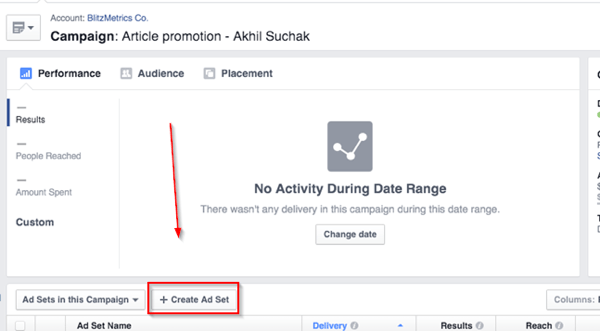 create facebook ad set