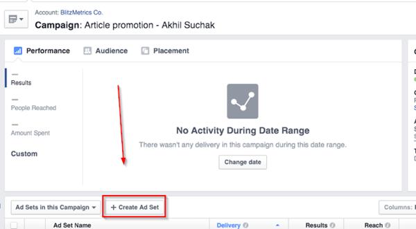 create facebook ad set