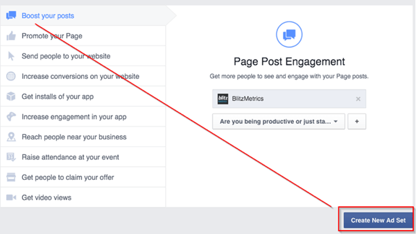 create new facebook ad set