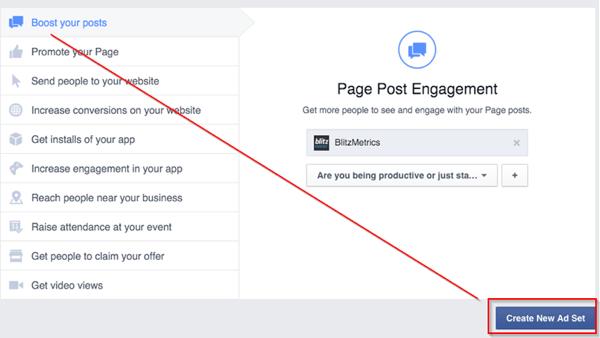 create new facebook ad set