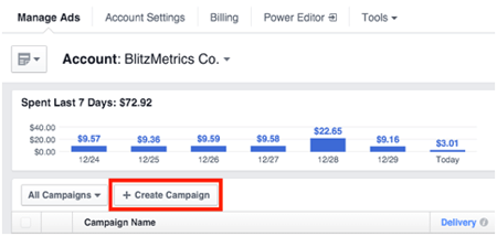 create facebook ad campaign
