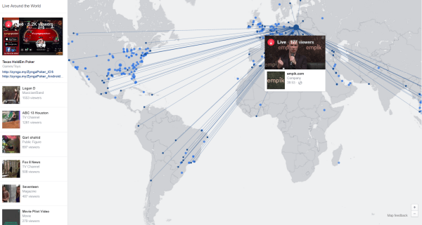 Facebook Live Video Map Shows Global Broadcasts This Week In Social