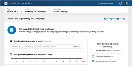 linkedin campaign manager features