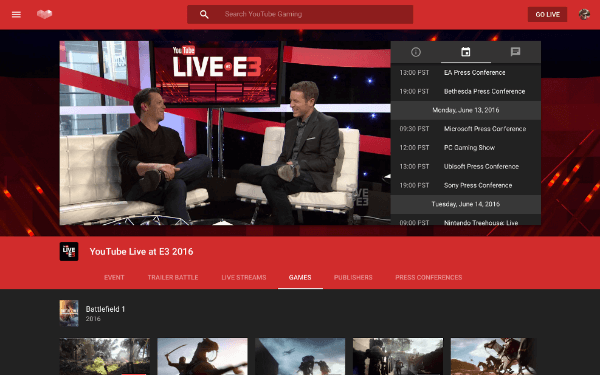 youtube gaming event hub