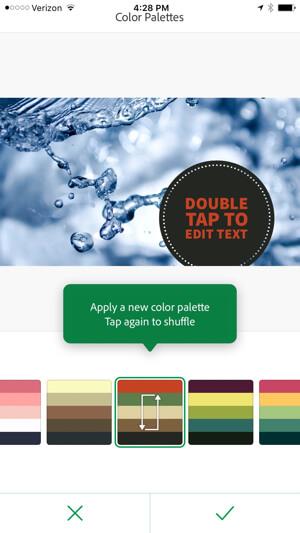 adobe post change color palette