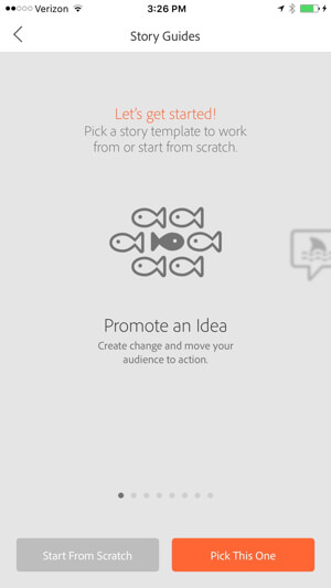 adobe voice create new project