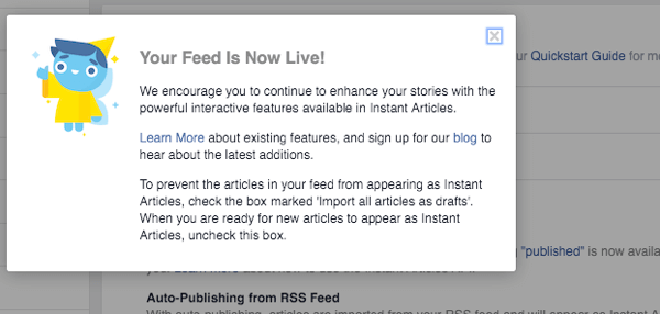 facebook instant articles feed notification