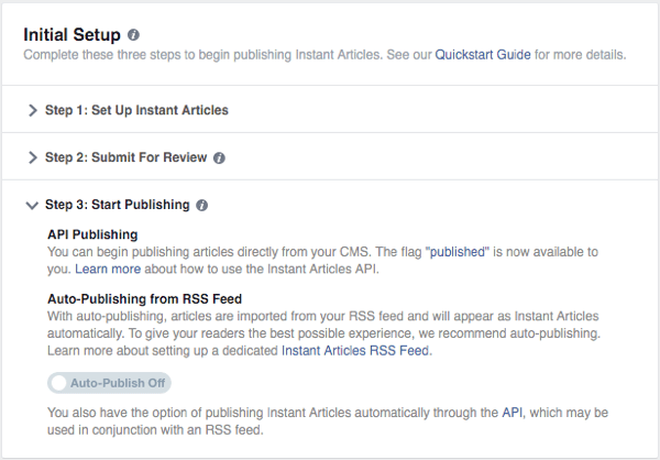 facebook instant articles set up