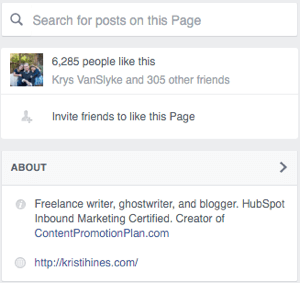 how to change your facebook page about section