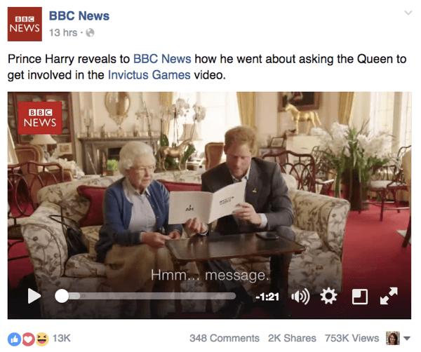 Facebook-Post mit hohem Engagement im Newsfeed