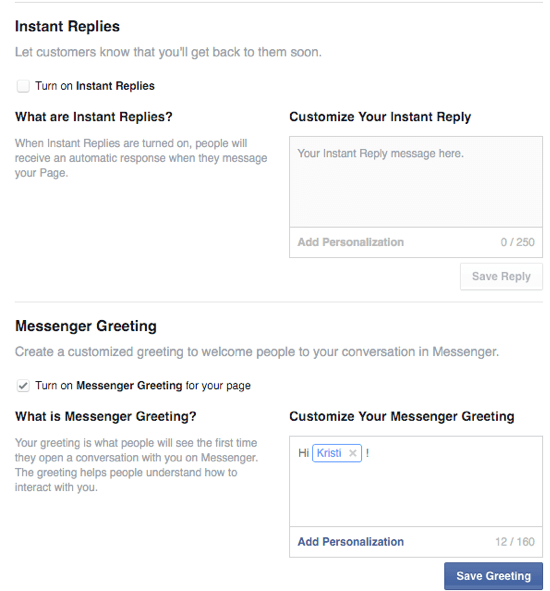 options for facebook instant replies and greetings