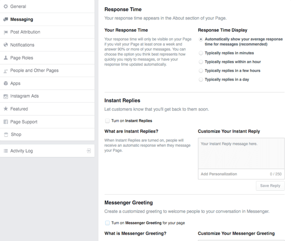 Facebook Page Message Settings