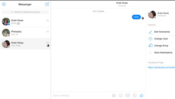facebook messenger screen on desktop browser