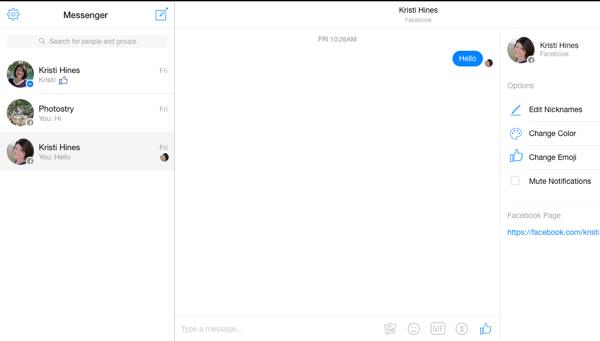 Facebook Messenger-Bildschirm im Desktop-Browser